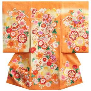お宮参り 着物 女の子 正絹 女児初着 橙色 まり 牡丹菊 刺繍使い まだら地紋生地