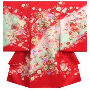 お宮参り 着物 女の子 正絹初着 女の子用産着 赤色 桜花車 金駒刺繍 桜流水 桜地紋 桜尽くし