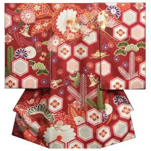 お宮参り 着物 女の子 正絹初着 エンジ(濃赤色) 牡丹 松唐草文様 刺繍使い 金彩 地紋生地 日本製