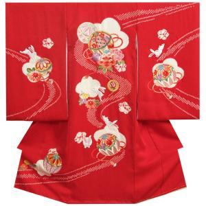 お宮参り 着物 女の子 正絹初着 赤色 ピンク水色流水ぼかし 牡丹 うさぎ 金糸刺繍 桜地紋生地|doresukimono-kyoubi