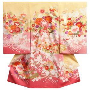 【送料無料】黄色に濃淡のピンクで染め分けした珍しい配色の女の子のお宮参り初着です。 メインの牡丹の一...
