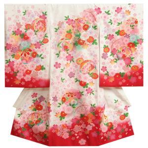 お宮参り 着物 女の子 正絹初着 白裾赤染め分け 華毬 桜 刺繍使い 金彩 サヤ地紋 日本製