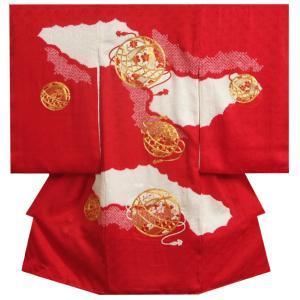 お宮参り 着物 女の子 赤ちゃん 正絹 女児初着 赤色 金駒刺繍大毬 桶絞り サヤ地紋生地 日本製