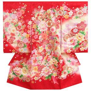 お宮参り 着物 女の子 正絹初着 赤 桜 まり 刺繍牡丹 金刺繍使い 地紋生地