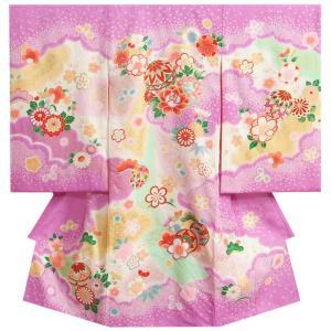 お宮参り 着物 女の子 正絹初着 濃紫 まり 絞り桜 金コマ刺繍 サヤ地紋生地 日本製