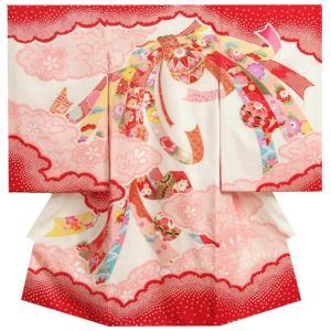 お宮参り 着物 女の子 正絹女児初着 女の子用産着 赤 花車 刺繍使い 桜地紋|doresukimono-kyoubi
