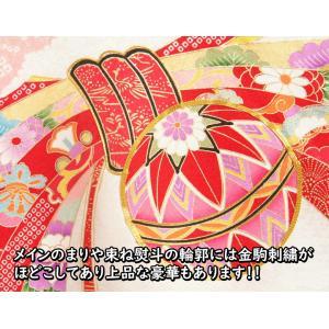 お宮参り 着物 女の子 正絹女児初着 女の子用産着 赤 花車 刺繍使い 桜地紋|doresukimono-kyoubi|03