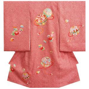 お宮参り 着物 女の子 正絹 女児初着 総鹿の子本絞り 手絞り まり 柄刺繍使い 日本製