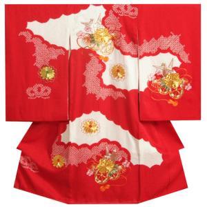 お宮参り 着物 女の子 正絹初着 赤三色雲取り 百花繚乱 金駒刺繍 金彩使い 唐絞りふくれ生地 日本製