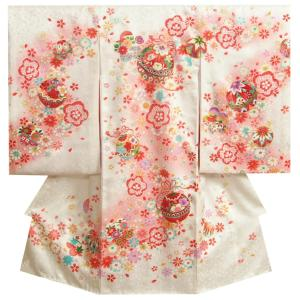 お宮参り 着物 女の子 正絹初着 女の子用産着 白色 流水文様 鈴 金駒刺繍使い 小桜地紋