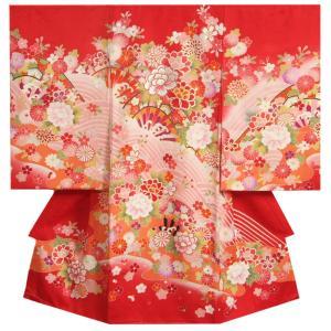 お宮参り 着物 女の子 赤ちゃん 正絹初着 赤色 刺繍牡丹 ピンクぼかし染め 片輪車 サヤ地紋生地 日本製
