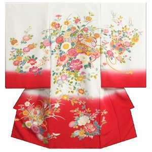 お宮参り 着物 女の子 正絹初着 浜ちりめん 三越織り 白裾赤染め分け 手染め 手描き 日本製