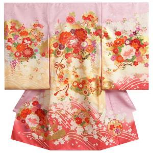 お宮参り 着物 女の子 正絹初着 ラベンダー地裾ピンク染め分け 松竹梅 まり 金駒刺繍使い 地紋生地 日本製