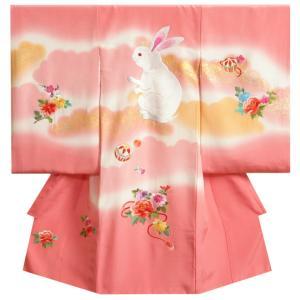 お宮参り 着物 女の子 正絹初着 赤色 秋桜(コスモス) 刺繍使い 金彩 桜地紋生地 日本製