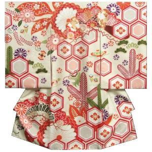 お宮参り 着物 女の子 正絹初着 オフホワイト 牡丹 松唐草文様 刺繍使い 金彩 地紋生地 日本製