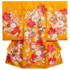 お宮参り 着物 女の子 赤ちゃん 正絹女児初着 産着 橙色 まり 寒緋桜 金駒刺繍 サヤ地紋 日本製