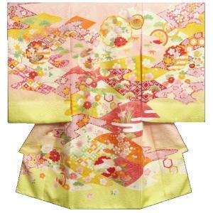 お宮参り 着物 女の子 正絹初着 サーモンピンク 裾若草色 金駒刺繍雪輪 金彩使い サヤ地紋生地 日本製
