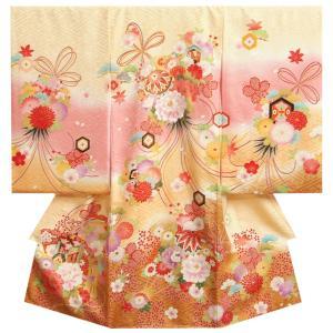 お宮参り 着物 女の子 正絹初着 ベージュ段ぼかし染め分け 金彩 金駒刺繍使い 金彩 紗綾地紋 日本製