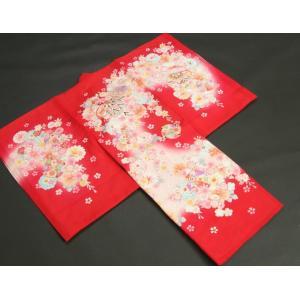 お宮参り 着物 夏用 女の子 正絹 赤色ピンク流水ぼかし まり 風車 絽生地 doresukimono-kyoubi 02
