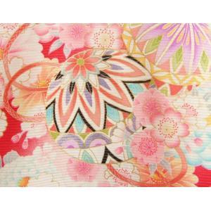 お宮参り 着物 夏用 女の子 正絹 赤色ピンク流水ぼかし まり 風車 絽生地 doresukimono-kyoubi 03