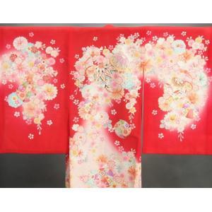 お宮参り 着物 夏用 女の子 正絹 赤色ピンク流水ぼかし まり 風車 絽生地 doresukimono-kyoubi 04