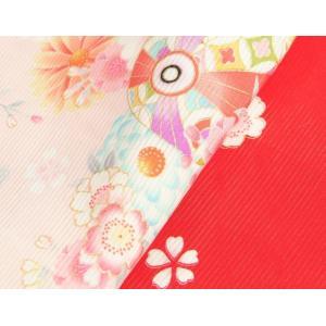 お宮参り 着物 夏用 女の子 正絹 赤色ピンク流水ぼかし まり 風車 絽生地 doresukimono-kyoubi 05