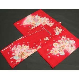 お宮参り 着物 夏用 女の子 正絹 赤色ピンク流水ぼかし まり 風車 絽生地 doresukimono-kyoubi 06