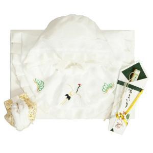 お宮参り着物用 涎掛け帽子セット フードタイプ 白 お宮参り3点セット  男女兼用 日本製|doresukimono-kyoubi