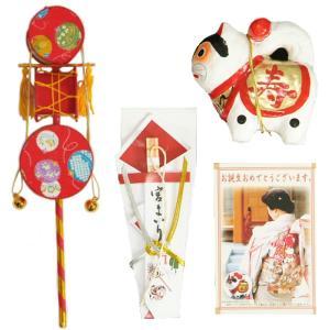 お宮参り着物用 でんでん太鼓とミニ犬張子の付いたお宮参り小物3点セット 女の子向き 日本製|doresukimono-kyoubi