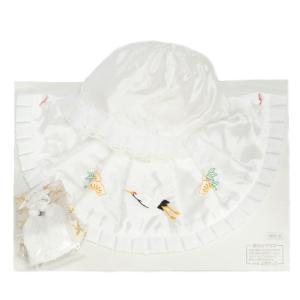 お宮参り着物用 涎掛け帽子セット アセテート生地 フードタイプ 白 お宮参り3点セット 男の子向き 日本製|doresukimono-kyoubi