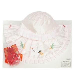 お宮参り着物用 涎掛け帽子セット アセテート生地 フードタイプ ピンク お宮参り3点セット 女の子向き 日本製|doresukimono-kyoubi