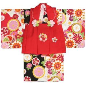 ベビー着物 赤ちゃん用女の子着物 白黒濃ピンク三色ボカシ着物 赤色被布 二部式仕様の楽々着せ付けタイプ|doresukimono-kyoubi