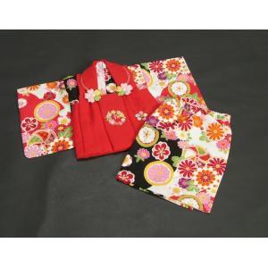 ベビー着物 赤ちゃん用女の子着物 白黒濃ピンク三色ボカシ着物 赤色被布 二部式仕様の楽々着せ付けタイプ|doresukimono-kyoubi|02