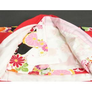 ベビー着物 赤ちゃん用女の子着物 白黒濃ピンク三色ボカシ着物 赤色被布 二部式仕様の楽々着せ付けタイプ|doresukimono-kyoubi|04