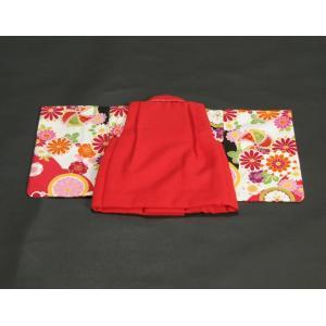 ベビー着物 赤ちゃん用女の子着物 白黒濃ピンク三色ボカシ着物 赤色被布 二部式仕様の楽々着せ付けタイプ|doresukimono-kyoubi|05