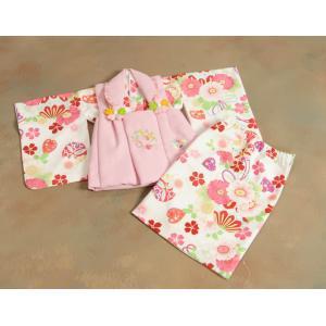 ベビー着物 赤ちゃん 女の子着物 白色 八重桜 赤色被布 二部式仕様の楽々着せ付けタイプ|doresukimono-kyoubi|02