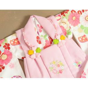 ベビー着物 赤ちゃん 女の子着物 白色 八重桜 赤色被布 二部式仕様の楽々着せ付けタイプ|doresukimono-kyoubi|03