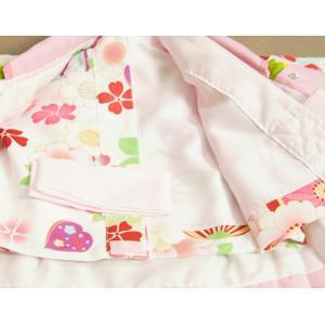 ベビー着物 赤ちゃん 女の子着物 白色 八重桜 赤色被布 二部式仕様の楽々着せ付けタイプ|doresukimono-kyoubi|05