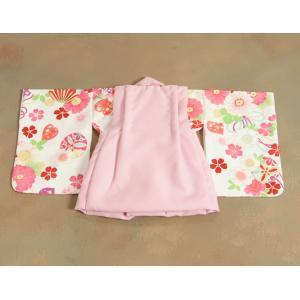 ベビー着物 赤ちゃん 女の子着物 白色 八重桜 赤色被布 二部式仕様の楽々着せ付けタイプ|doresukimono-kyoubi|06