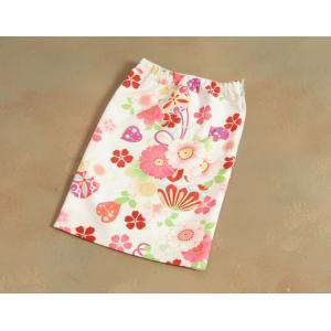 ベビー着物 赤ちゃん 女の子着物 白色 八重桜 赤色被布 二部式仕様の楽々着せ付けタイプ|doresukimono-kyoubi|07