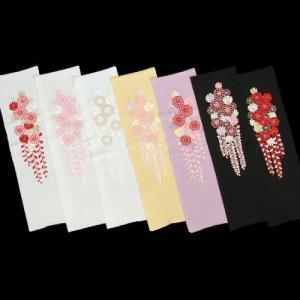刺繍半衿 牡丹菊 辻が花 振袖に最適 全7色 日本製|doresukimono-kyoubi
