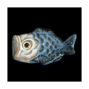 瀬戸赤津焼帯留め飾り おもしろ帯留シリーズ 瀬戸物 陶器 鯉上り 青色 日本製 通常の帯〆でも使用可能な幅広金具使用|doresukimono-kyoubi