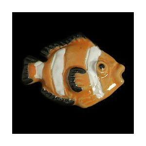 瀬戸赤津焼帯留め飾り おもしろ帯留シリーズ 瀬戸物 陶器 エンゼルフィッシュ オレンジ色 日本製 通常の帯〆でも使用可能な幅広金具使用|doresukimono-kyoubi