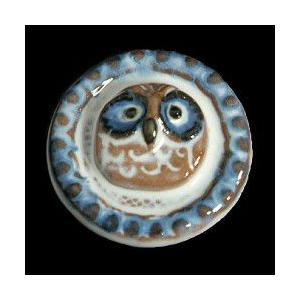 瀬戸赤津焼帯留め飾り おもしろ帯留シリーズ 瀬戸物 陶器 丸にふくろう 藍色 日本製 通常の帯〆でも使用可能な幅広金具使用|doresukimono-kyoubi