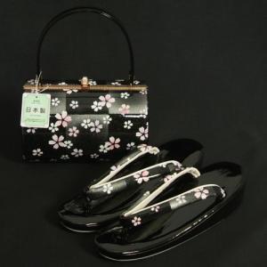 草履バッグセット 振袖 訪問着 黒銀市松 小桜柄 一枚芯 フリーサイズ 丸筒型バッグ 日本製|doresukimono-kyoubi