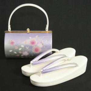 草履バッグセット 振袖 訪問着 藤色 白 桜銀彩使い 丸筒型バッグ 二枚芯 フリーサイズ 日本製
