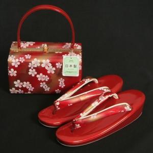 草履バッグセット 振袖 訪問着 赤地ゴールドぼかし 大小桜柄 一枚芯 フリーサイズ 角型バッグ 日本製|doresukimono-kyoubi