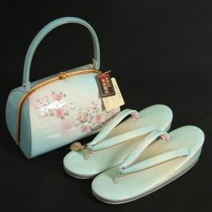 草履バックセット 振袖 訪問着 淡い水色ボカシ 桜柄 優鼻緒仕様 三枚芯 フリーサイズ 日本製