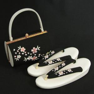 草履バックセット 振袖 訪問着 白 黒 ちりめん地 桜刺繍 二枚芯 Mサイズ 日本製