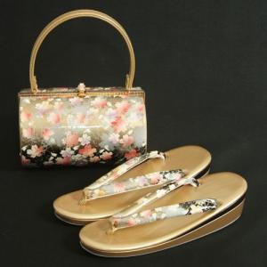 草履バックセット 振袖 訪問着 ゴールド黒切替 桜柄 二枚芯 フリーサイズ 丸筒型バック 日本製|doresukimono-kyoubi